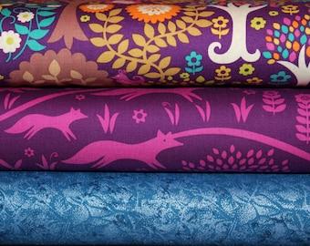 Woodland, Fabric, Deer, Fox, Trees, Foxtrot, Fantasy Forest, Purple,Pink, Sapphire,Teal, Gold,Brown,Birds, Unisex,Baby,Girl,Boy,Custom Cuts