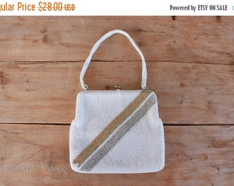 SALE 1960s beaded handbag / white gold & silver beaded evening bag / vintage wedding purse