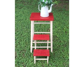 Stool - Step Stool - Foot Stool - Wood Stool - Folding Step Stool - Side Table - Plant Stand - Rustic Decor - CHIC