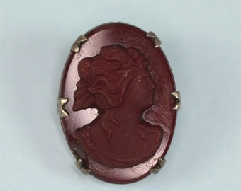 CIJ Sale Red Glass Cameo Pin Sterling Setting 1920s 1930s