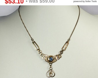 CIJ Sale Simulated Blue Gemstone Pendant Necklace Gold Filled Art Nouveau Style Vintage