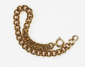 Curb Link Starter Charm Bracelet Gold Tone Vintage