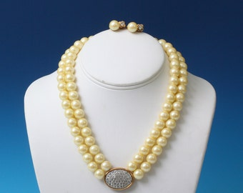 Faux Pearl and Rhinestone Set Necklace Clip Earrings Avon President's Club Vintage
