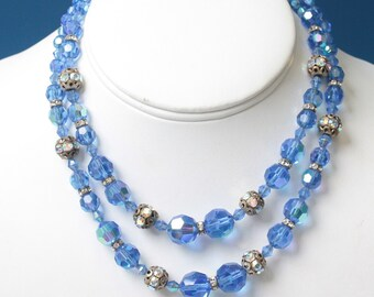 Blue AB Crystal Two Strand Necklace Choker Rhinestone Rondelles Vintage