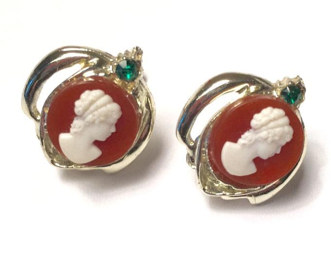 Resin Cameo Earrings Green Rhinestones Screw Back Vintage