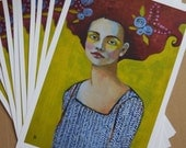 A New Day~ Art Print (of painting) Portrait of Woman By Gritty Jane Spakowsky