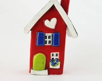 Little Clay House | Red Ceramic House | Miniature House | Whimsical house | Red House | Fairy House Hearthome by Beth Macre