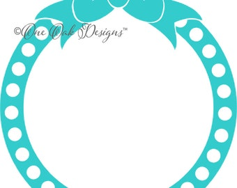 Bow Dot Circle Monogram Frame SVG File PDF / dxf / jpg / png / eps / ai / for Cameo, Cricut Explore & other electronic cutters