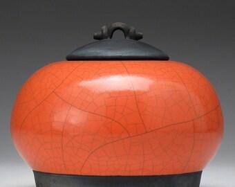 Jar ,Ceramic Art,Raku  Pottery,Lidded Jar,Poppy Red and Black clay jar with lid,Raku Jar, art pottery,covered jar