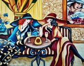 Fine Art  Giclee Print, Original Art Paintings, Big Hats, Art Deco Ladies Drinking Wine, Striped Sofa, by k Madison Moore