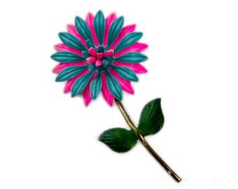 1960s Pink Blue and Green Enamel on Metal Mod Flower Floral Vintage Pin Brooch