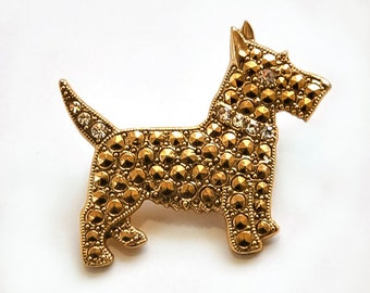 1980s Gold Tone Marcasite Look with White Rhinestones Vintage Scottish Terrier Scottie Dog Pin By 1928 Jewelry