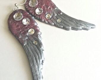 Angel Wing Earrings, Purple Silver Crystal Angel Wing Dangle Earrings