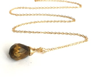 14K Gold Pendant Necklace, Tiger Eye Gemstone Long Chain Necklace