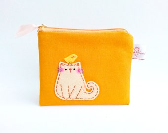 Cat coin purse, coin pouch, orange coin purse, cute cat pouch, children pouch, zipper wallet, sweet pouch, school supplies, cat lady gifts