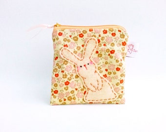 Bunny zipper pouch, Cute coin purse, Small change pouch, Flower coin purse, Rabbit coin purse, Coin pouch, Yellow, Summer - Bunny Lover Gift