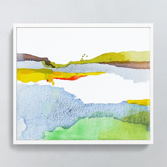 "Abstract Landscape Print of Painting, LIMITED EDITION PRINT, giclee, coral, blue, green, yellow ""Silted River""  modern abstract contemporary"
