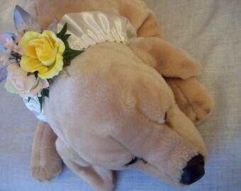Dog flower girl ruffle collar ring bearer attendant pastel flowers wedding pet canine attendant bridesmaid ring bearer ivory