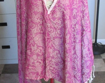 upcycled pink brocade poncho from Calzeat of Scotland throw blanket artsy one size