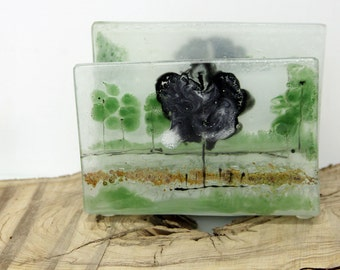 Green Grass  Napkin holder,  tree  landscape, Fused Glass art, painting on glass