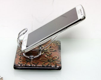 iphone stand, iphone dock, fused glass Android stand,Fused Glass gold flowers