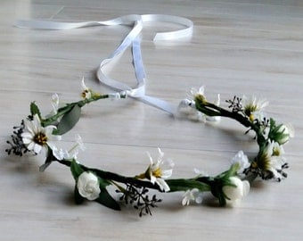 Wedding Floral Crown Hair Wreath flower girl halos seeded eucalyptus vine Woodland ivory white bridal headpiece accessories made to order