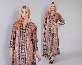 Vintage 70s CAFTAN DRESS / 1970s Metallic Semi Sheer Indian India Gauze Loose Fit Maxi Dress