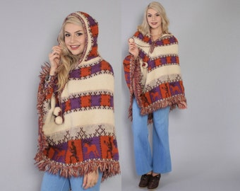 Vintage 60s PONCHO / 1960s Soft Knit Tribal Animal Pattern Cape with Hood