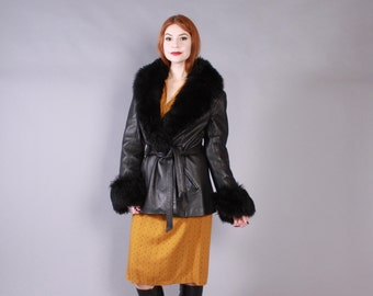 Vintage 70s LEATHER JACKET / 1970s Black Leather with Fluffy Shearling Collar Belted Coat
