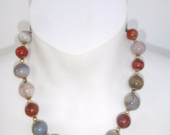 Vintage Multi Colored Marble Size Glass Ball - Necklace for women