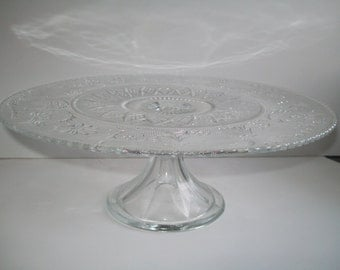 Sandwich Glass Cake Pedestal Duncan and Miller Clear Glass Cake Stand