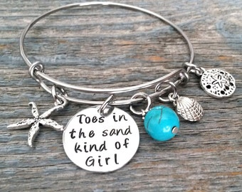 Toes In The Sand Kind Of Girl Bangle Bracelet-Wire Charm Bracelet-Hand stamped Jewelry-Beach Cruise Jewelry-charm bracelet-for her