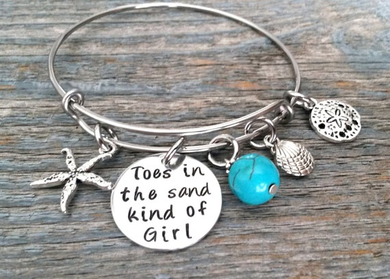 toes in the sand kind of girl bangle by simpleofferings on