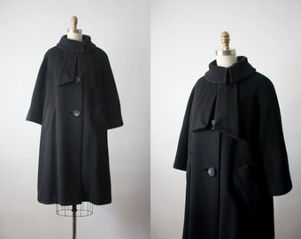 swing coat / 1950s black wool coat