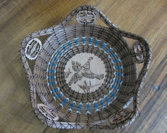Wood Burnt Image of a Flying Pheasant Pine Needle Basket
