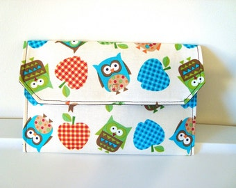 Coupon / Cash Budget Clutch Organizer - Owls and Checkerd Apples