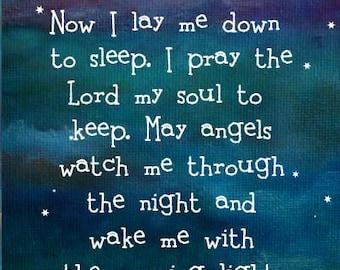 Personalised Bedtime Prayer Night Sky Nursery New Baby Gift