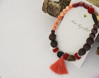 Bracelet bois rouge abricot bois nature zen gitan