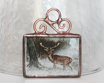 Christmas Ornament British Postage Stamp Ornament Stained Glass Christmas Decoration Deer Buck in Winter, Christmas Ornament