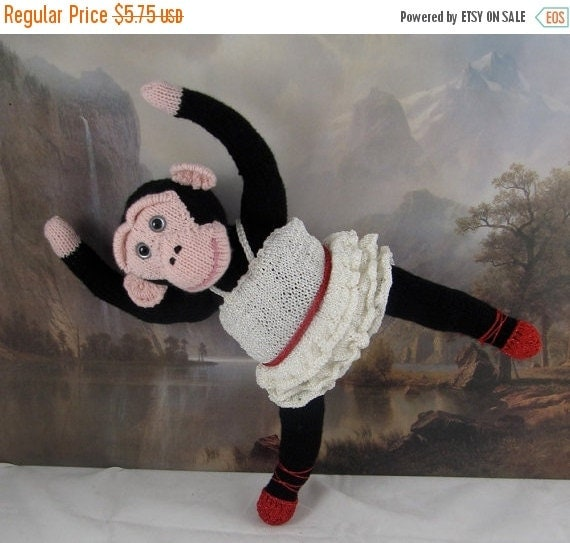 HALF PRICE SALE Digital pdf file knitting pattern-Prima Primate Ballerina toy monkey animal knitting pattern pdf download by madmonkeyknits