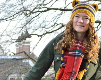 Mad Hat SALE 60% Off - Knitted Striped Hat with Cat Ears and Ear flaps - Mustard yellow and Navy blue