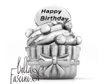 Happy Birthday Cupcake Gift Bead Charm - 925 Sterling Silver - Fits Pandora and Compatible European Brand Bracelets - BELLA FASCINI® F-138