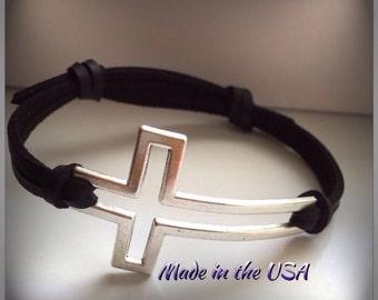 Adjustable leather sideways cross bracelet