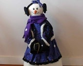 Belle Large Fabric Standing Snowman Snowlady Home Decor Winter Holiday Decoration