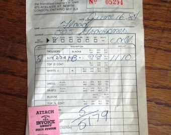 Vintage 1984 Dry Cleaning Receipt and Tag Ephemera for Card Making, Altered Art, Collage, Mixed Media, Scrapbooking, etc.