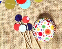 Confetti Dots - mini cupcake bon bon baking paper cups and toothpicks (set of 12)
