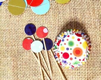 Confetti Dots - mini cupcake bon bon baking paper cups and toothpicks (set of 12)