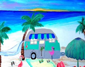 Air stream retro camper by the beach art canvas wrap.