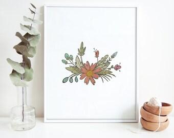 Blush Watercolored Flowers