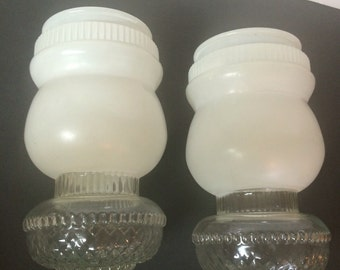 Pair of Vintage Frosted Glass Light Globes